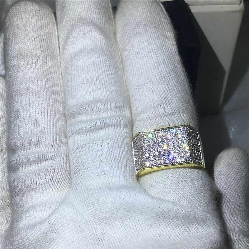 Masculino punk rock jóias amarelo ouro enchido 925 anel de prata 119 pçs 5a zircon pedra aniversário pary banda anéis para homem hiphop