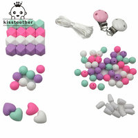 Baby Teether Set Unfinished Chewable Silicone Round Hex Beads Diy Jewelry Teething Necklace Baby Shower Gift