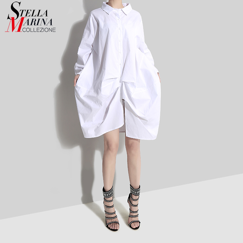 2019 Korean Style Women Autumn Solid White Asymmetrical Shirt Dress Long Sleeve Plus Size Mini Lady Unique Dress Robe Femme 4700