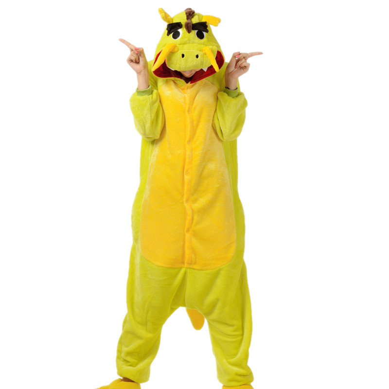 Adult Flannel Kigurumi Chinese Dragon Cosplay Costume Unisex Onesie Pajamas Halloween Carnival Masquerade Party Jumpsuit