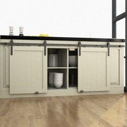 DIYHD 48 /60/70 Mini Strap Holz Schrank Doppel Schiebe Barn Door Hardware Zu Hängen 2 tür (Keine Schrank)