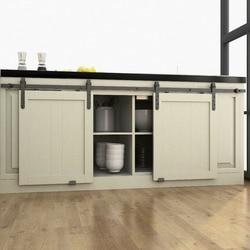 DIYHD 48/60/70 Mini Strap Wooden Cabinet Double Sliding Barn Door Hardware To Hang 2 Door(No Cabinet)
