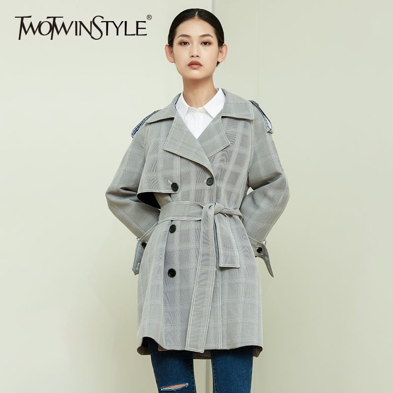 TWOTWINSTYLE Plaid   Trench   Coat Female Double Breasted Tunic High Waist A Line Long Women's Windbreaker 2018 Spring Vintage New