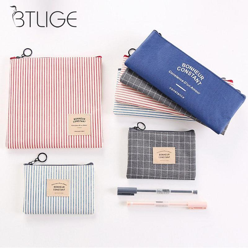 Mini Grid Stripe Women Makeup Bag Canvas Pencil Pen Case Cosmetic Makeup Pouch Zipper Bag Purse Beauty Wash Kit Bags retro stripe pencil pen case cosmetic pouch pocket brush holder makeup bags life style pencil bag pen box