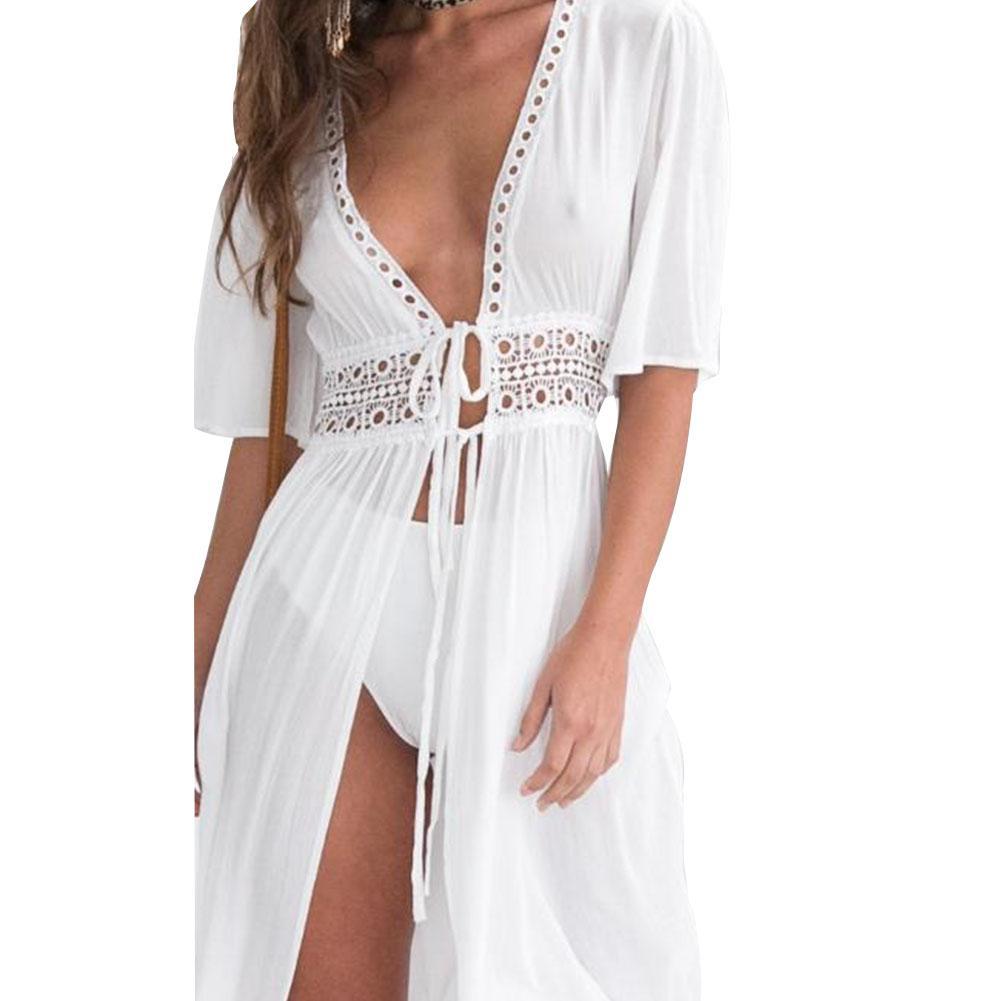 2019 New Yfashion Women Sexy Lace-up See-through Large Hem Long Beach Dress