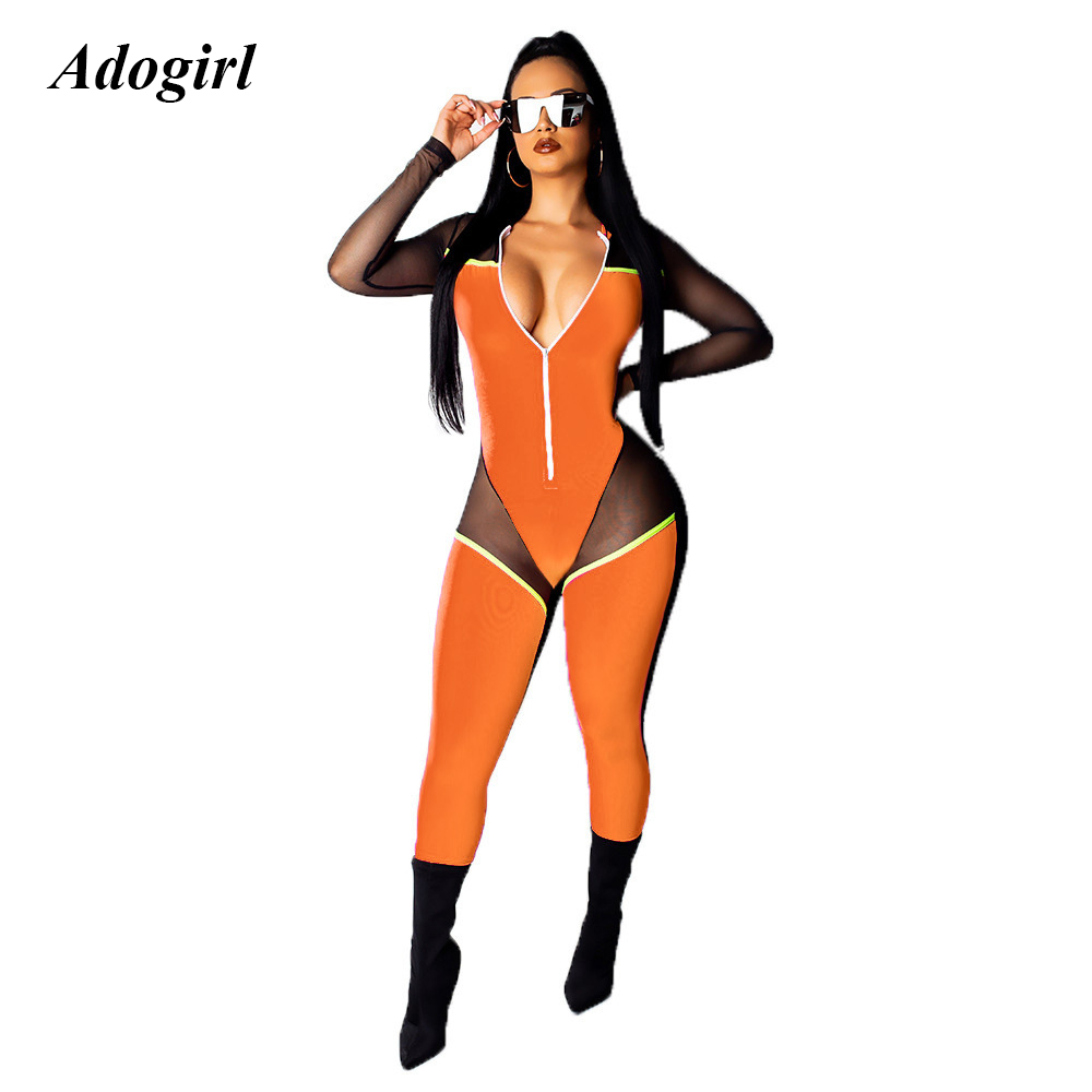 Adogirl Sexy Sheer Mesh Patchwork Bodycon Jumpsuit Casual See Through Fluorescent Color Overalls For Women Night Club Rompers