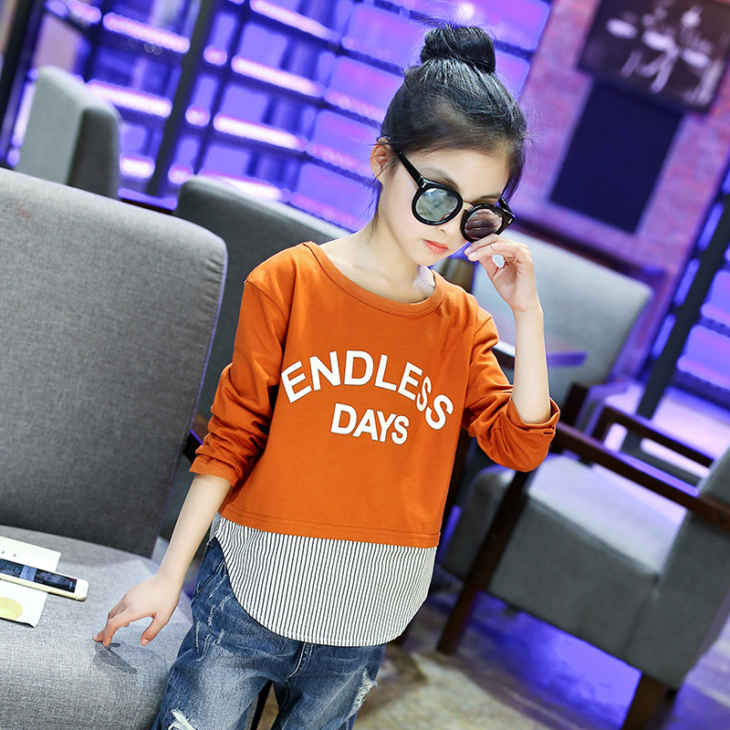 все цены на Girls T shirt Caramel color Long Sleeve Striped Patchwork Girls Blouse Children School Clothing 4 5 6 8 10 12 years old