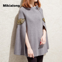 Mikialong 2017 Fashion Embroidery Ponchos And Capes Autumn Winter Knitted Women Sweaters And Pullover Plus Size
