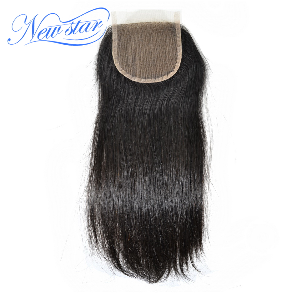 New Star Brazilian Straight 4 x4 Lace Closures With Baby Hair Knots Bleached 100 Virgin Human