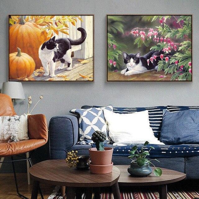 Attraktiv Aquarell Modernen Rahmenlose Katze Wandbilder Für Wohnzimmer Malerei Kunst  Poster Leinwand Zeichnung Geschenk Dekor Bilder Zimmer