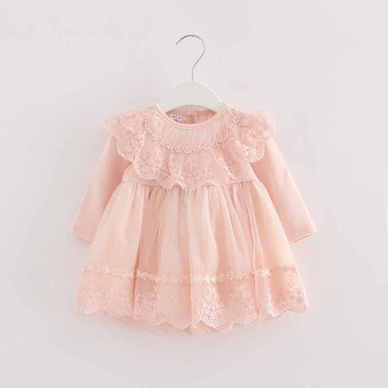 Girls Wedding Dress Pearls Lace Baby Girls Christening Dresses For Party Kids Baby Girls Birthday Dress Ball Gown 0-2Y Pink Blue