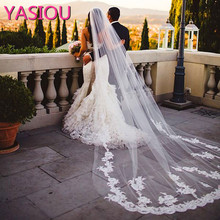 2017 Hot Sale 3 Meter Long Tulle Wedding Accesories Lace Veil Bridal Veils White/Ivory Cathedral Wedding Veil With Comb