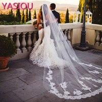 2017 Sıcak Satış 3 Metre Uzun Tül Düğün Aksesuarları Dantel Peçe Gelin Peçe Beyaz/Fildişi Katedrali Düğün Veil Ile tarak