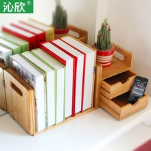 Simple table bamboo wood bookcase bookcase Creative Wood Office Desktop small bookcase shelving Specials