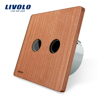 Natural Health Life Cherry Wood Panel LIVOLO EU Standard Wall Switch AC 220 250V VL C702