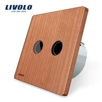 Natural Health Life Cherry Wood Panel LIVOLO EU Standard Wall Switch AC 220 250V VL C702