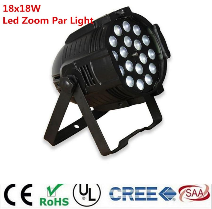 4pcs /lot 18x18w zoom par light dmx lights dj par 64 rgbwa uv 6in1 led par light for dj party disco