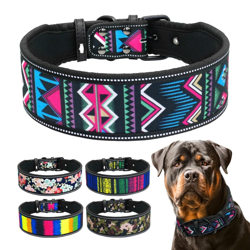 Collar - Nylon Dog Collar Reflective Pet Dogs Collars Breathable Padded Striped Pitbull German Shepherd Medium Large Dogs Collar S M L