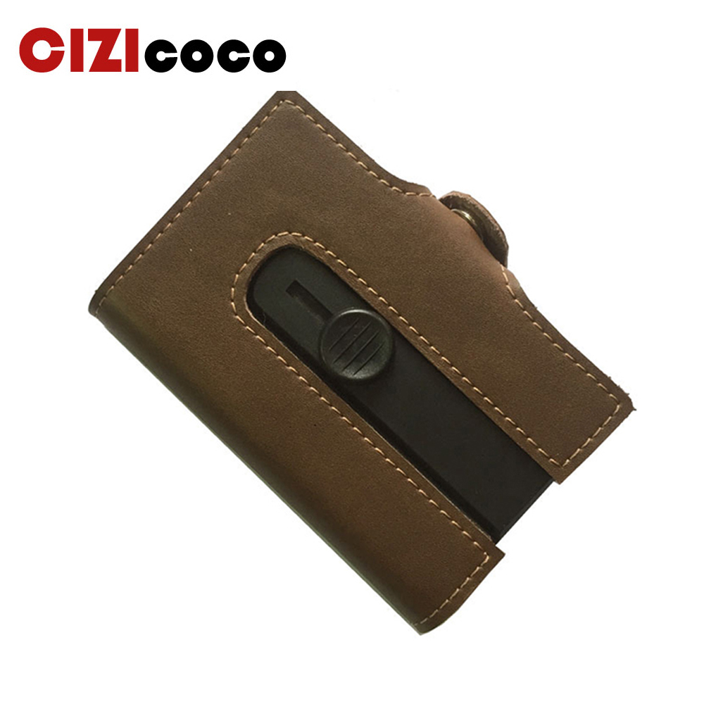 Cizicoco 2019 New Card Holder Men And Women Smart Genuine Leather Card Wallet HASP Mini Coin Purse RFID Blocking Card Package