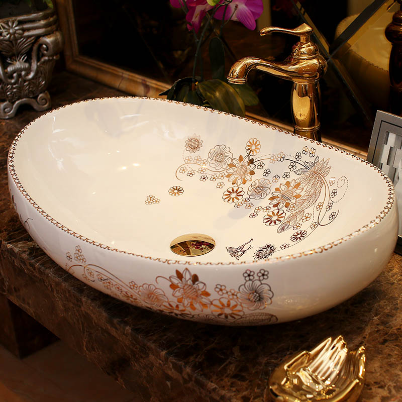 Oval Bathroom Lavabo Ceramic Counter Top Wash Basin Cloakroom Hand Painted Vessel Sink Bathroom Sinks Countertop