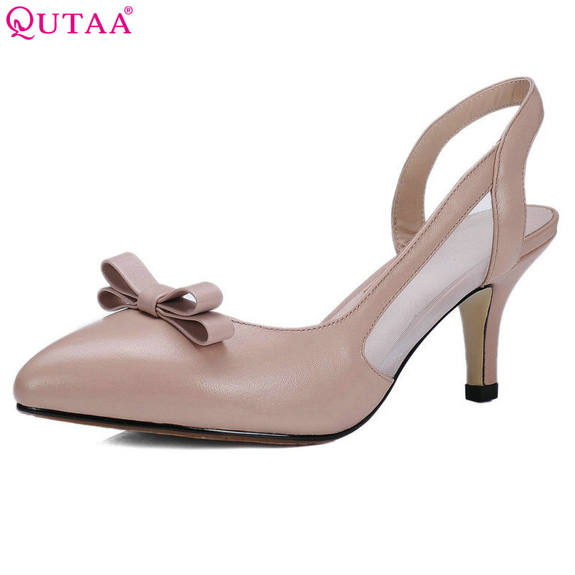 QUTAA 2017 Women Pumps Thin High Heel Bow Tie Slingback Platform Pointed Toe Genuine Leather Ladies Wedding Shoes Size 34-39 qutaa 2017 ladies summer shoes pointed toe heel woman flat shoes genuine leather bow tie black women ballet flats size 34 39