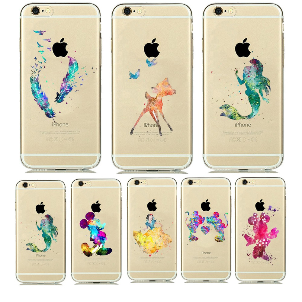 Beautiful Princess Mermaid Print Ultra Thin Transparent Soft TPU Phone Case Coque For iphone 5 5s 6 6s Plus Rubber Funda Cover