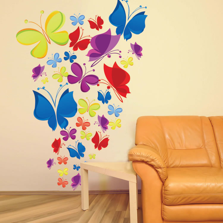 Romantic Hand painted Colorful Butterflies Wall Stickers Living Room ...