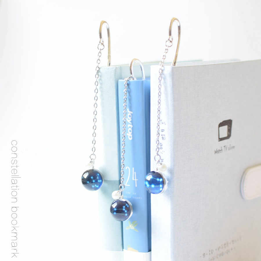 Creative Noctilucent 12 Constellation Bookmark Pendant Metal Book mark Stationery School Office Supply Escolar Papelaria