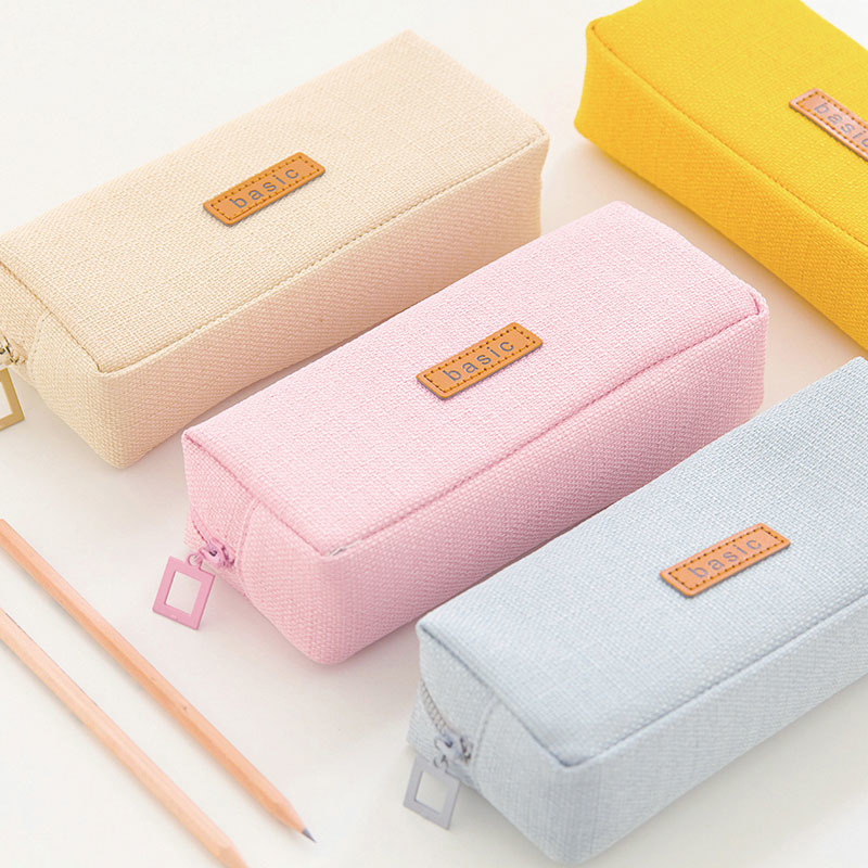 Brief Pencil Case Large Capacity Pen Stationery Organizer Bag Canvas Cosmetic Pouch with Zipper School Office Supplies 1pc