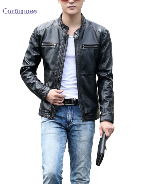 PU Leather Jacket New 2016 Men Black Red Brown Solid Mens Faux Fur Coats Trend Slim Fit Youth Motorcycle Suede Jacket Male