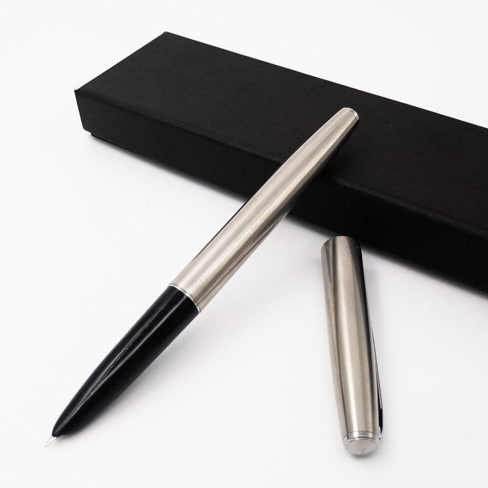 Jinhao 911 Silver Steel Fountain Pen With 0.38mm Extra Fine Nib Inks Pen Luxury Metal Finance Pens Office School Supplies