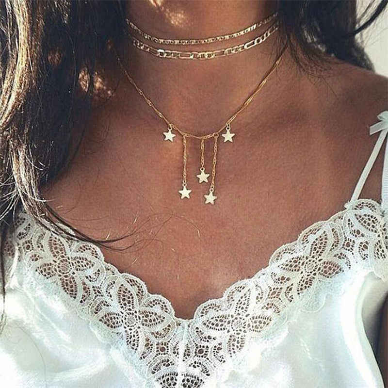 2019 New Multi-layer Crystal Moon Pendant Necklace Ladies Vintage Charm Necklace Party on Neck Jewelry Accessories for Women