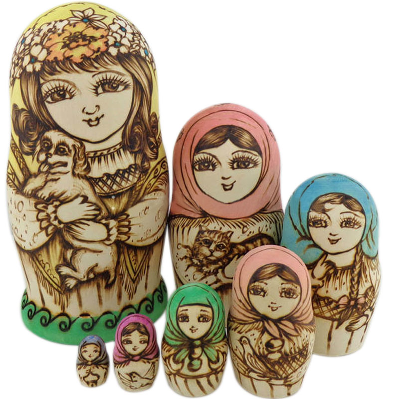 7pcs/Set Wooden Russian Nesting Dolls Dried Basswood Traditional Authentic Handmade Matryoshka Doll Kids Gift FJ88 шляпа herman herman mp002xu00yjn