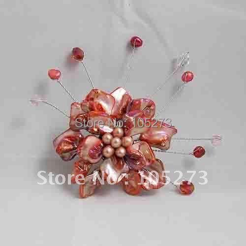Bonito! Broche de flor 8 cm Big redonda flor moda jóias da mulher pérola + Shell + atacado Crystal New frete grátis FN2620