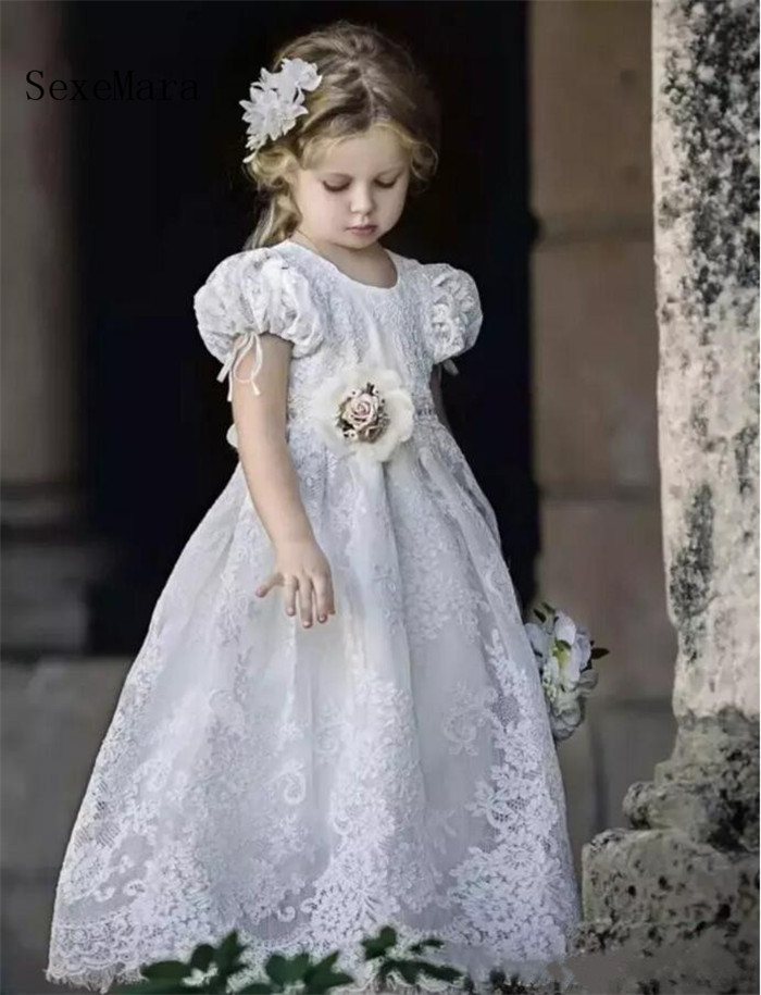 1ae9f28ee1f7 Vintage Flower Girl Dresses For Weddings Baby Girls Dresses Puffy Tulle  Lace Floor Length Custom Made. sku: 32907523516