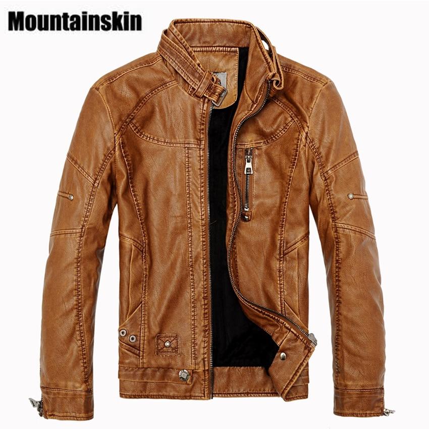 Mountainskin 2017 Winter Men s Leather Jackets Casual Men Vintage Motorcycle PU Faux Jacket Male Moto