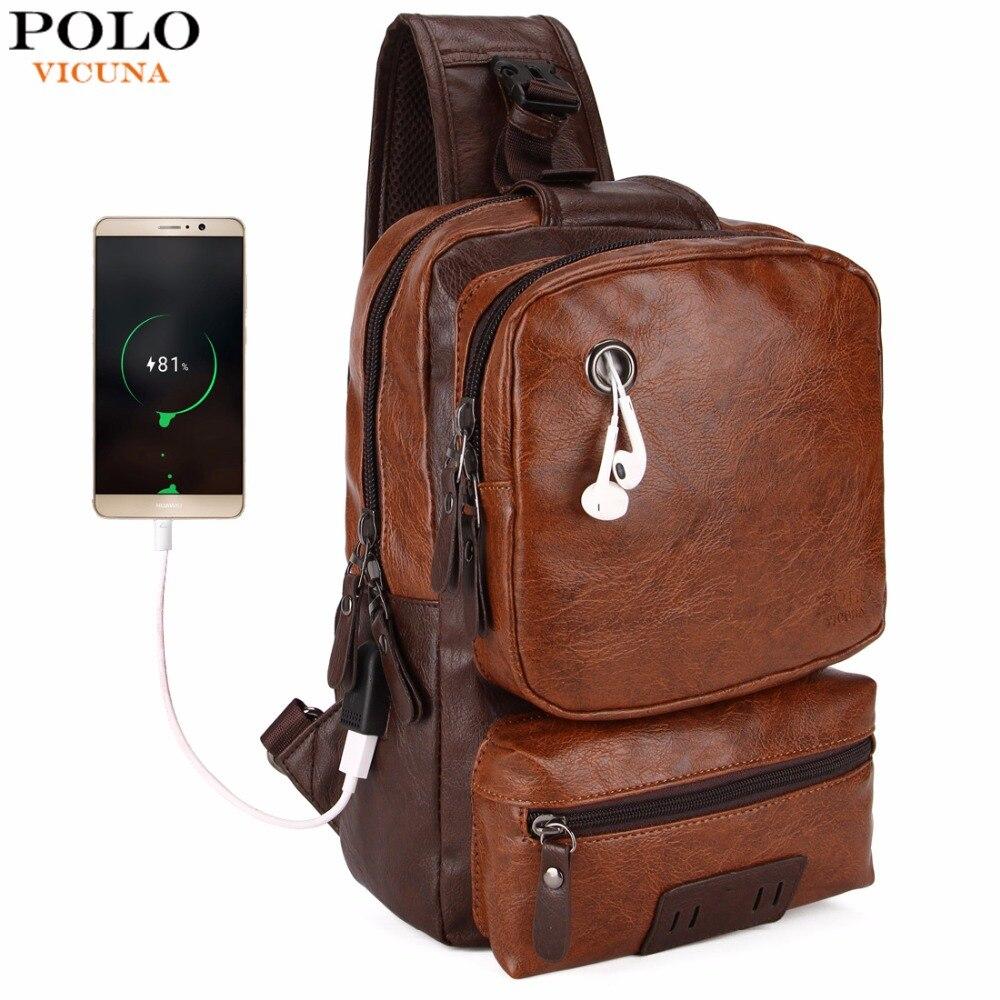 VICUNA POLO Anti-theft External USB Charge Messenger Bag Patchwork Men Crossbody Bag Large Capacity Casual Travel Man Bag Hot
