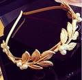 Nuevo estilo coreano de la perla Hairbands mujeres de Hair Jewelry Vintage oro hojas accesorios para el cabello