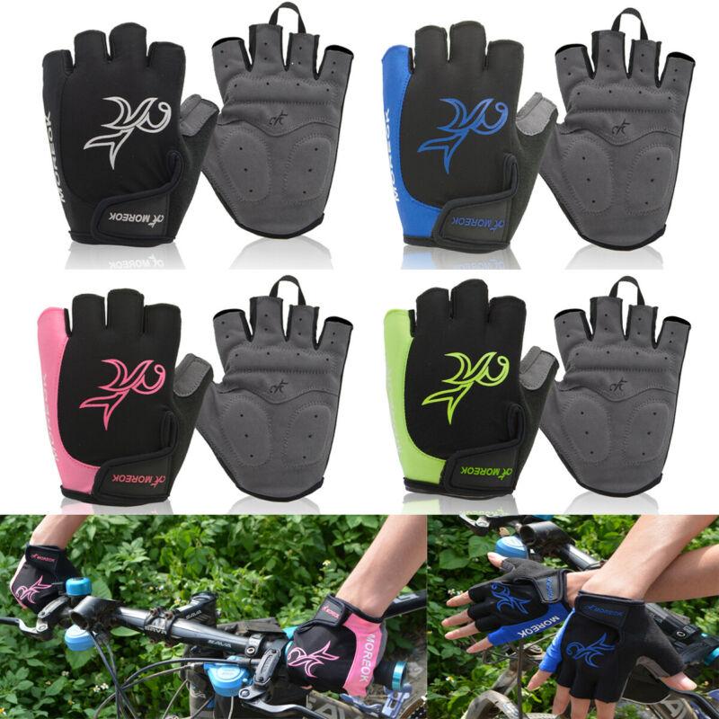 Mens Cycling Gloves Bike Half Finger Bicycle Gel Silicone Fingerless Glove Black