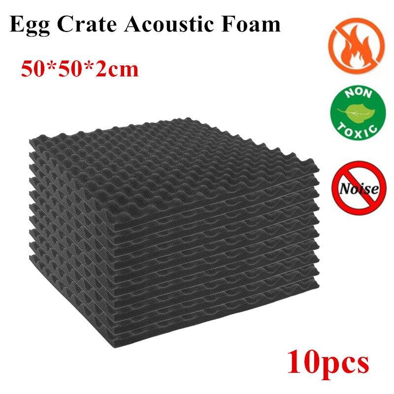 10pcs Acoustic Foam Treatment Sound Proofing Sound-Absorbing Noise Sponge Studio Room Absorption Wedge Tiles Foam 50 X 50 X 2cm