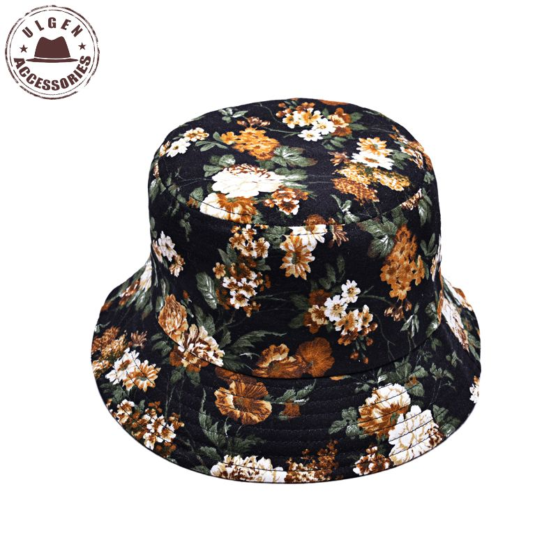 New Summer bucket hat women sun protection hat flower fruit printed hat  cotton bucket hat men 19292281abf