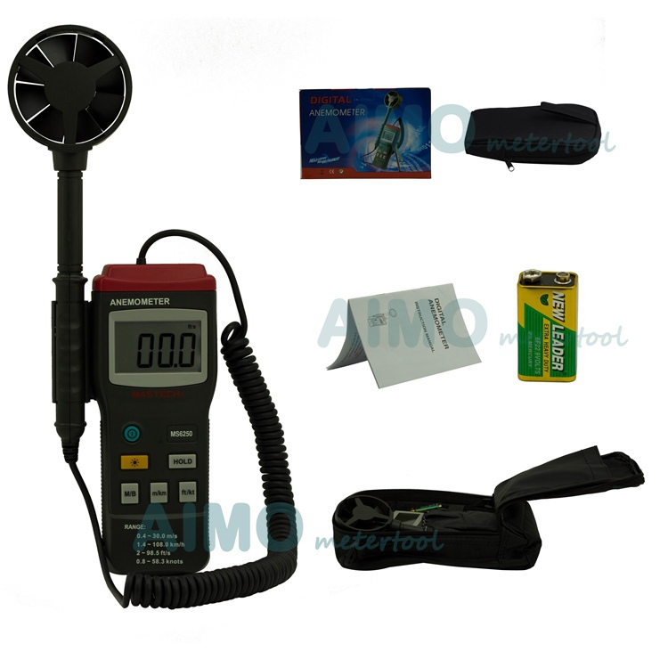 MASTECH MS6250 Digital Anemometer Wind Speed Tester Meter With large LCD and back light Data Hold