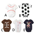 3 Pieces / lot Wholesale 2016 Sport Pattern Baby Bodysuits Newborn Boys Girls Short Sleeve Bodysuits Football Rugby Clothes V20