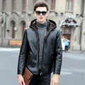 Men's Winter PU Leather Jacket Real Hair Lamb Wool Fur Coat For Men  Hooded Leather Jacket Good Quality Plus Size 5XL Black