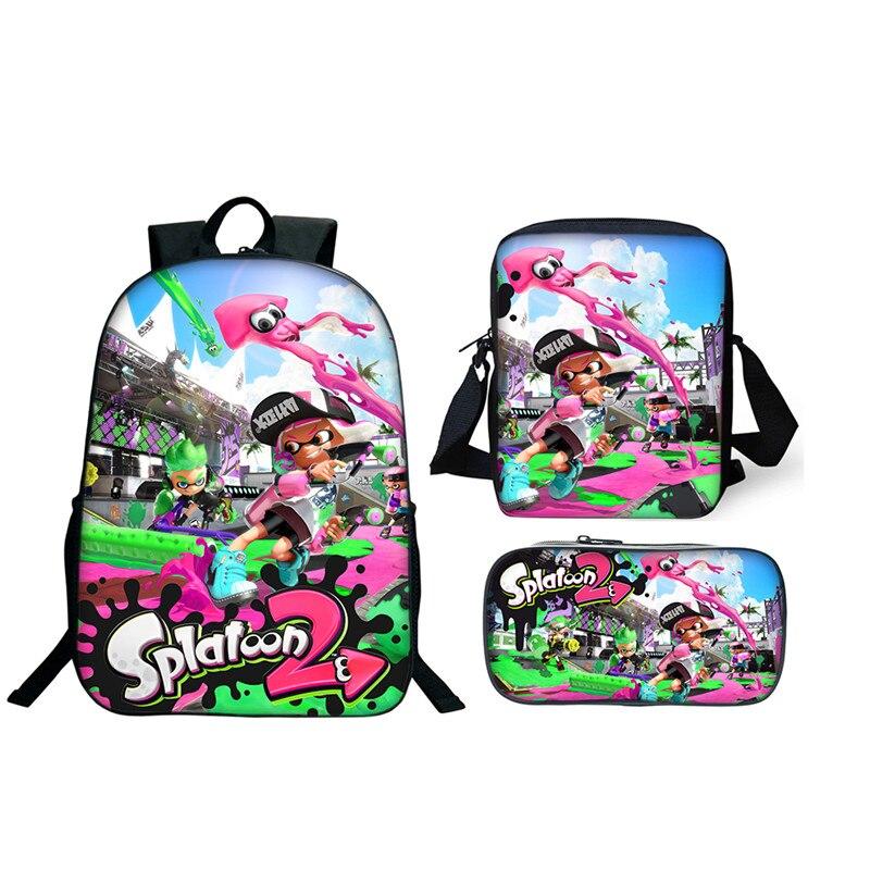 3 pièces/ensemble plus moins cher sacs d'école Splatoon 2 sacs à dos pour garçon filles jeu décontracté imprimé sacs à dos ensembles sac Splatoon cadeau d'école