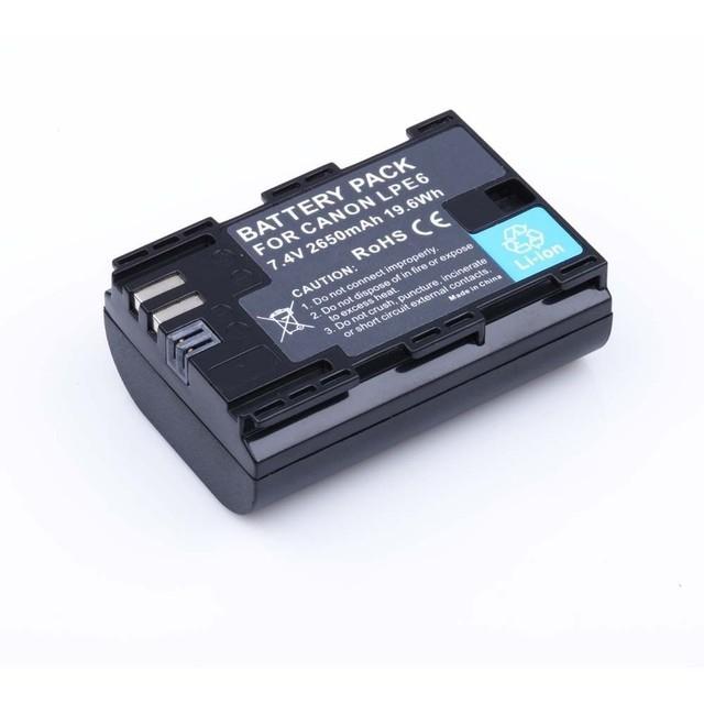 Código completo lp-e6 lpe6 2650 mah batería batteria akku para canon eos 5DS R 6D 5D Mark II III 7D 60D 70D 60Da 80D