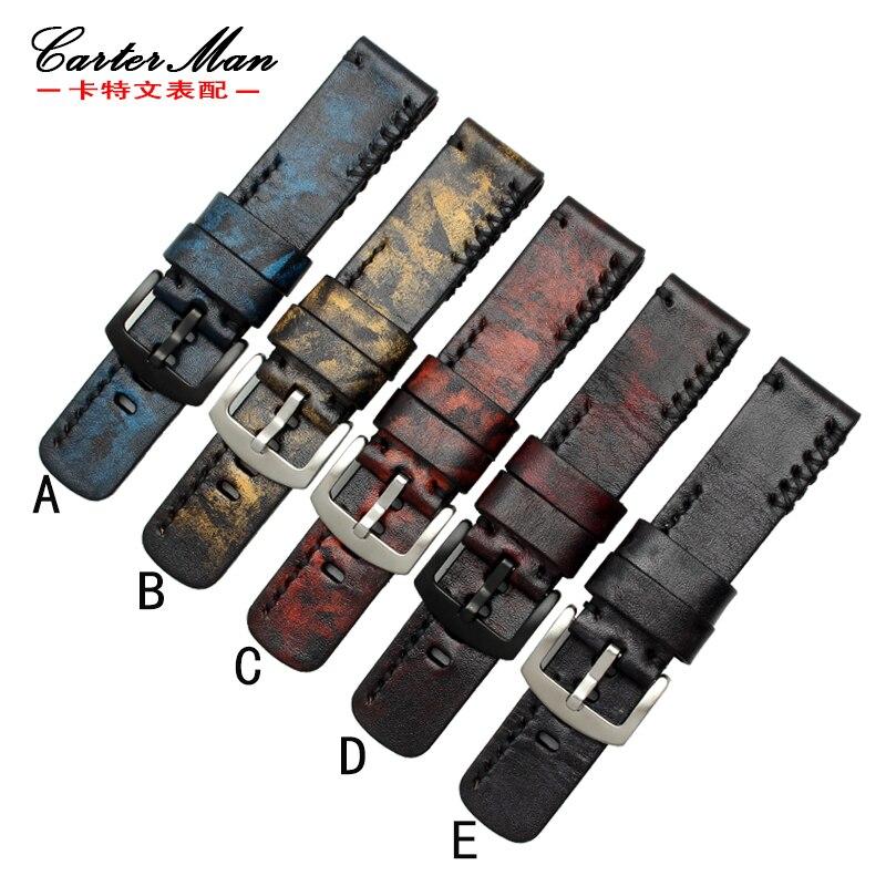Bracelet de montre rétro en cuir véritable fait à la main pour PAM | montre SF 20mm 22mm 24mm 26mm 28mm avec boucles en acier inoxydable