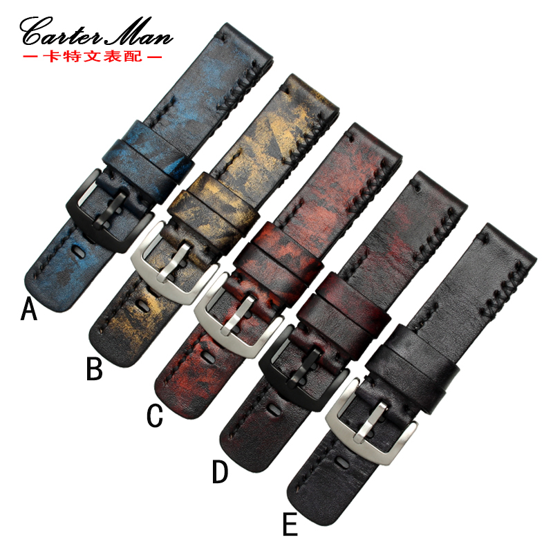 Handmade dyeing Retro Genuine Leather Watch Band Strap for PAM|SF Watch 20mm 22mm 24mm 26mm 28mm With Stainless steel Buckles 22mm 24mm 26mm frosted dark blue retro soft mate genuine leather watchband watch strap for pam and big watch free shiping