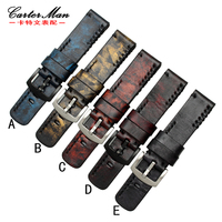 Handmade Dyeing Retro Genuine Leather Watch Band Strap For PAM SF Watch 20mm 22mm 24mm 26mm