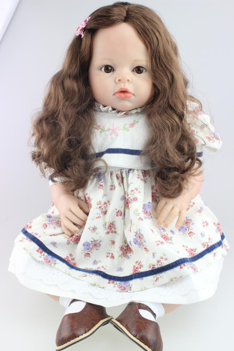 70cm Silicone Reborn Baby Doll Toys Long Hair lifelike Princess Baby Infant Clothing Model Girls Brinquedos